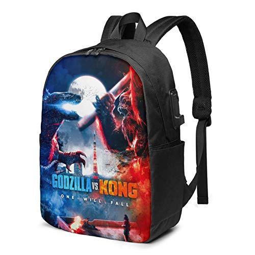 Godzilla Vs. King Kong Movie Backpack School Bag Ergonomic Travel Bag Bookbag Daypack For Teen 17 Inches
