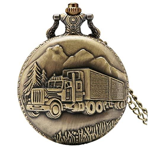 XXCHUIJU Reloj de Bolsillo de árbol Grande de Bronce de Bronce Vintage Reloj de Bolsillo con Cadena para Camiones de Coche Relojes de Bolsillo