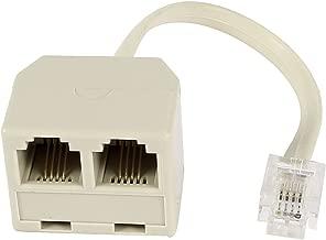 uxcell RJ11 6P4C オス - 2x メス コネクタ M/F 分離器 電話 アダプタ ケーブル ベージュ