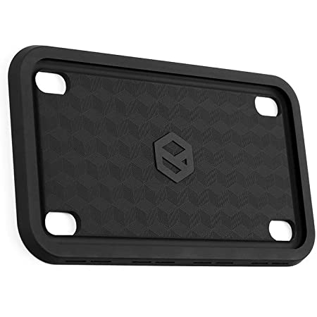 Rightcar Solutions Motorcycle Silicone License Plate Frame - Rust-Proof. Rattle-Proof. Weather-Proof. - Black