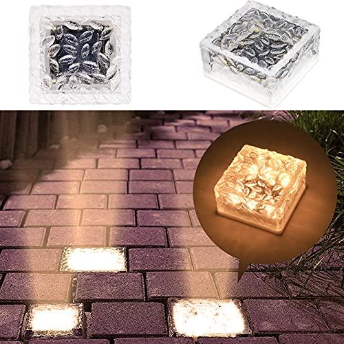 MEDOYOH 1 Stück 6 LED Perlen Solar Glas Pflastersteine Außenleuchte, Warmweiß Licht On/Off Lichtsensor Solarleuchte Wasserdicht Bodenstrahler Licht für Außen Garten Hof Weg Dekoration, 105x105x55mm