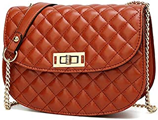 Docooler Women Crossbody Bag Quilted PU Leather Chain Shoulder Strap Twiss Lock Elegant Evening Party Bag