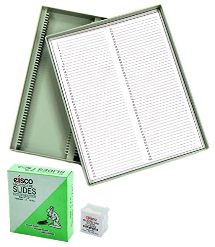 Slide Kit with 72 Pre-Cleaned Plain Microscope Slides, 100 22 x 22mm Glass Cover Slips and a Durable 100 Slot Microscope Slide Storage Container