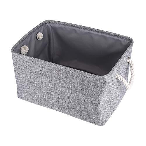 Aigid Cajas de almacenamiento plegables con asas, Contenedores de almacenamiento de ropa de tela de lino de algodón lavable, Organizador de cubos de almacenamiento plegable para juguetes(gris)