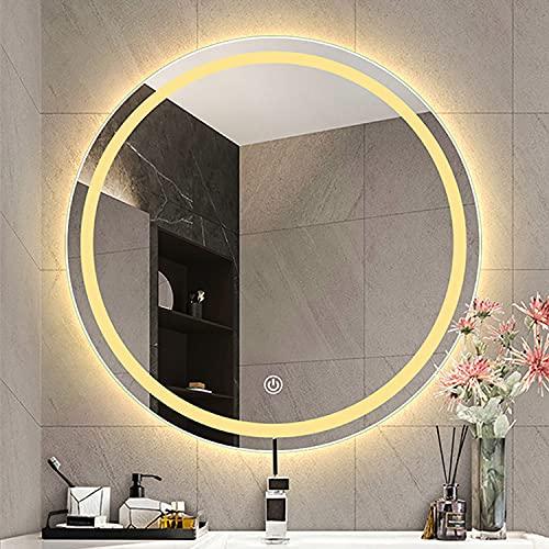 GETZ Ronda Moderna Espejo Baño LED Iluminado | Espejo de Pared para Cuarto con Antivaho | Espejo Redondo Decorativos 3 Colores Claros Ajustables