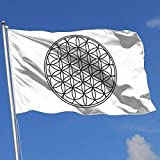 Jeewly Die Blume des Lebens Heilige Geometrie 3x5 Fuß Flagge Außenflaggen 100% einschichtiges durchscheinendes Polyester 3x5 Ft