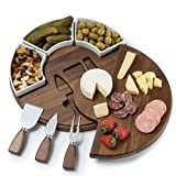 Shanik Upgraded Cheese Cutting Board Set, Acacia Wood Charcuterie Board Set, Cheese Serving Platter, Perfect Meat / Cheese Board and Utensil Set, 3 Knives, Ceramic Bowls, and Wine Server Plate.