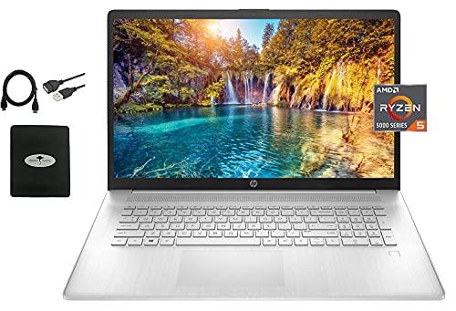 "2021 Newest HP 17.3"" FHD Laptop, AMD Ryzen 5 5500U 6-core(Beat i7-1160G7, up to 4.0GHz), 16GB RAM, 1TB PCIe SSD, Bluetooth 4.2, WiFi, HDMI, USB-A&C, Windows 10 S, w/Ghost Manta Accessories"