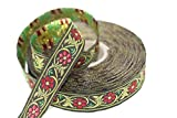11 Yard Spool 0.62 inches Wide Bavarian Spring Time Floral Green Jacquard Trim Floral Ribbon Tapes Band Jacquard Ribbon Ruban Ribbons 16904