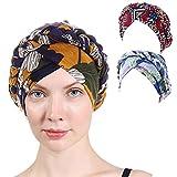 3 Packs Women Turban Muslim Caps,Colorful Floral Printed One Plait Elegant Stretch Turban Head Wrap for Cancer Chemo