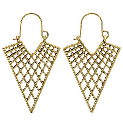 Ruby569y - Pendientes de aro para mujer, diseño geométrico, hueco, estilo bohemio, para mujer, joyería de moda, accesorio de regalo – 9030, dorado
