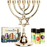 HalleluYAH Menorah 7 Branched Candelabra Plus Anointing Oil from Israel - Classic Star of David...