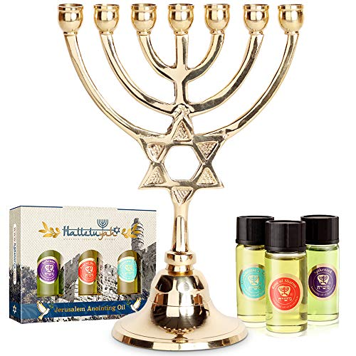 HalleluYAH Menorah 7 Branched Candelabra Plus Anointing Oil from Israel -...