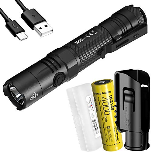 Nitecore MH10 v2 1200 Lumen USB-C Rechargeable EDC Flashlight with Battery, Hard Holster and LumenTac Battery Case