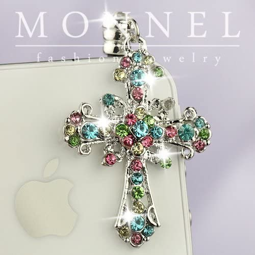 Rainbow Crystal Ranking TOP13 Cross Charm Detroit Mall Cell Phone Huaw iPhone for Dust Plug