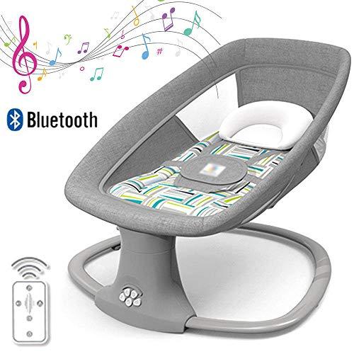 HWHSZ 3-In-1-Multifunktions-Babyschaukel, Intelligenter Elektrischer Bluetooth-Babyschaukelstuhl, FüNfgang-Schaukel, DREI-Gang-Timing, Batteriebetrieben Oder USB-Betrieben,Grey-B