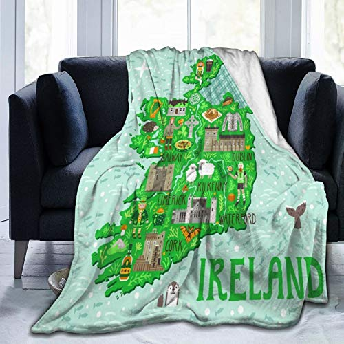 VANKINE Ultra-Soft Micro Fleece Blanket,Map of Ireland Travel with Irish Castles People Symbols Traditional Food,Home Decor Warm Throw Blanket for Couch Bed,80'X 60'