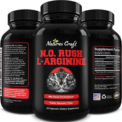 Nitric Oxide Pre Workout for Men - Nitric Oxide Pills for Men with L-Arginine L-Citrulline and Beet Root Powder Amino Acids for Muscle Recovery Natural Energy Muscle Growth Enlargement and Performance