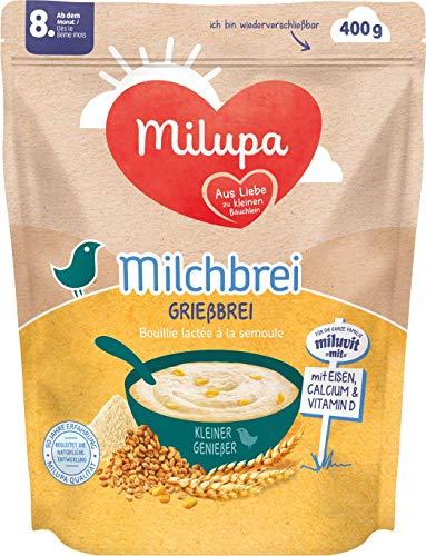 Milupa Milchbrei Grießbrei miluvit mit Kleine Genießer ab dem 8. Monat, 4er Pack (4 x 400 g)