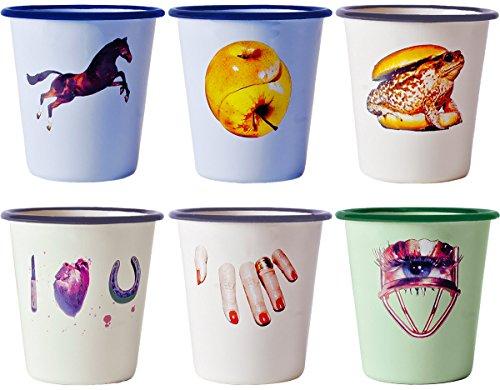 SELETTI Set. 6 Bicchiere in Metallo Smaltato Toiletpaper Ø Cm.8,8 H.9