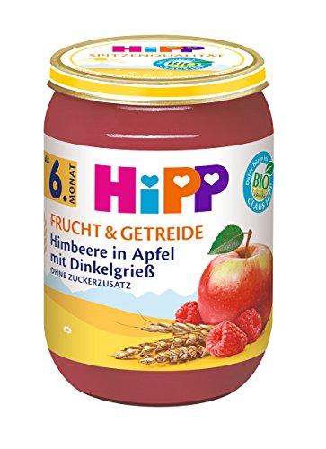 Hipp Frucht & Getreide, Himbeere in Apfel mit Dinkelgrieß, 6er Pack (6 x 190 g)
