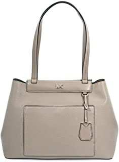 Michael Kors Meredith Medium East/West Bonded Leather Tote- Truffle