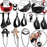 C.P. Sports - Cinturón de entrenamiento para abdominales, cabeza y cuello, para culturismo, crossfit, levantamiento de pesas, gimnasio, equipamiento deportivo (cuero negro)