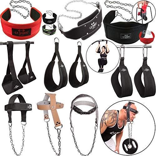 C.P. Sports Dip Gürtel/Bauchtrainingsschlaufen/Kopf- und Nackentrainer, Bodybuilding Fitness Crossfit Gewichtheben Gym Equipment Sport Zubehör (Bauchtrainingsschlaufen Komfort)