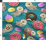 Spoonflower Stoff - Süße Otter Otter Donuts Ozean