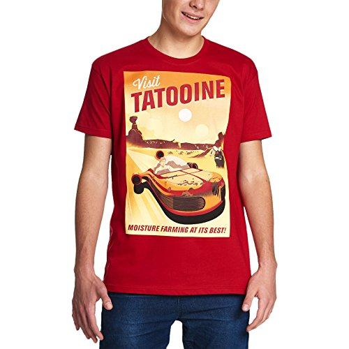 Elbenwald Visita la Camiseta de Star Wars de los Hombres Tatooine Retro roja de algodón - L