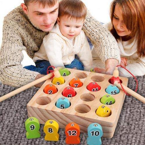 Puzzle Einfügen Puzzle Holz Kleinkind Spielzeug Angeln Spiel mit magnetischen Spielzeug Angelrute Junge Mädchen Geschenke für 1-3 Jahre alt Kinder Spiele im Freien Hands-On Eltern Kind interaktives
