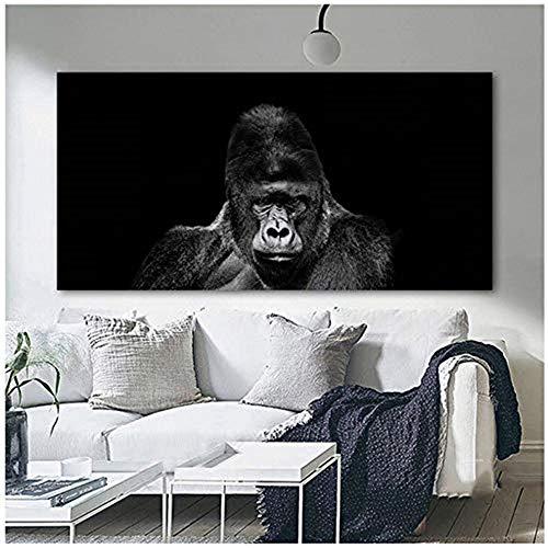 HYFBH Druck auf Leinwand Gorilla Monkey Animal Pictures Leinwandbild Schwarz-Weiß-Wandkunst Bild für Wohnzimmer Wohnkultur 70x140cm (27,6x55.1 Zoll) Kein Rahmen