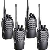 Olywiz Two-Way Radio Long Range Rechargeable Walkie Talkie UHF406-470Mhz 1800mAH Battery(Ultra-Long Standby) Loud&Clear Dual Desktop Charger with USB Cable 4 Pack HTD826