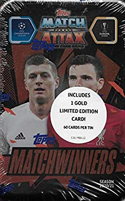 Match Attax 2020 2021 Topps UEFA Champions League Soccer Trading Card Game Sealed MEGA Collector's Tins with Bonus Gold Cards and Exclusive Inserts (Matchwinners)
