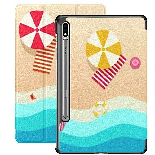 Funda para Galaxy Tab S7 Funda Delgada y Liviana con Soporte para Tableta Samsung Galaxy Tab S7 de 11 Pulgadas Sm-t870 Sm-t875 Sm-t878 2020 Release, Beach Top View Paraguas Toallas Tablas de Surf