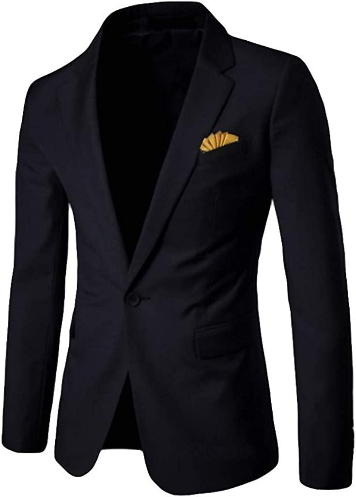 Charberry 2019 New Men's Stylish Casual Solid Blazer Business Wedding Party Outwear Coat Suit Tops