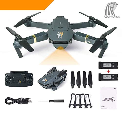 HORUS JY019 Quadcopter Drone With Camera Live Video, WiFi FPV Quadcopter with 120° FOV 720P HD Camera Foldable Drone RTF - Altitude Hold, One Key Take Off/Landing, 3D Flip, APP Control. 2Pcs Batteries
