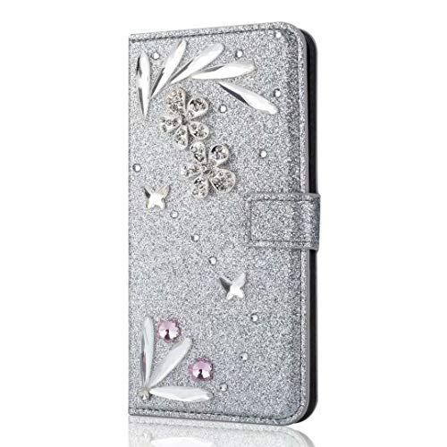 Samsung Galaxy A21s Phone Case, Bling Gems Diamond PU Leather Flip Wallet Cases Sparkly Crystal Rhinestone Cover with Magnetic Feathers Buckle Card Slot Stand for Samsung Galaxy A21s Silver