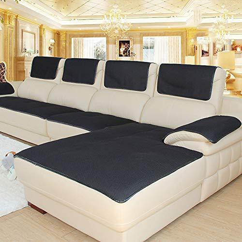 CClz Anti-rutsch Atmungsaktive Sofabezug Für Haustiere Hund, Sommer Sectional Sofa Sofa Überwurf Für Ledersofa Schmutzabweisend Möbel Protector-schwarz 60x180cm(24x71inch)