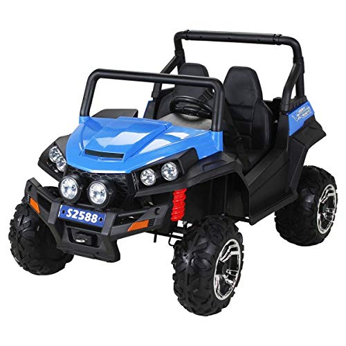 Coche eléctrico para niños RSX - 2.4Ghz, 24V, 4 X MOTOR, mando a distancia, dos asientos en cuero, ruedas blandas de EVA, radio de FM, Bluetooth (Azul)