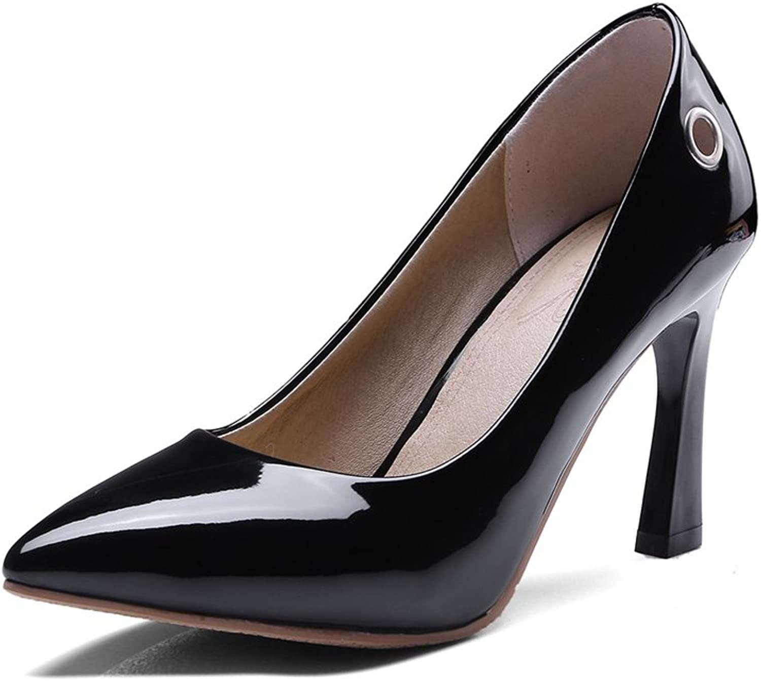 Coloing Womens Kitten Mid Heel Pump Ladies Pointed Toe Basic Office Work shoes Classic Leather Slip On Low Heel shoes