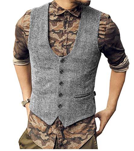 Solove-Suit Chaleco clásico de espiga para hombre, con cuello en U, corte ajustado, para boda y novio. plata S