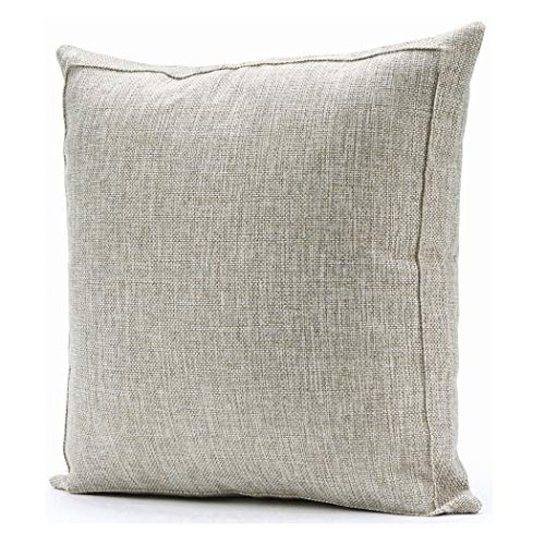 Jepeak Linen Burlap Throw Pillow Cover, Home Decorative Pillowcase Protector, Square Solid Handmade Pillow Sham Cushion Cover with Zipper for Sofa (20 x 20 Inches, Light Beige with Khaki Threads)