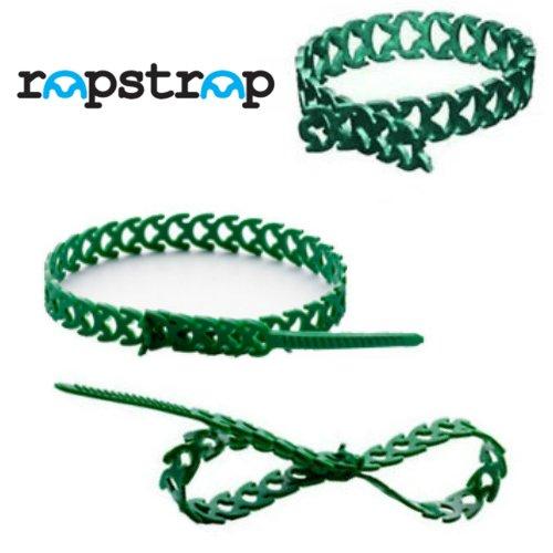 Rapstrap réutilisables en caoutchouc serre-câbles Attaches 10 mm x 300 mm pour plantes – Vert – Lot de 12