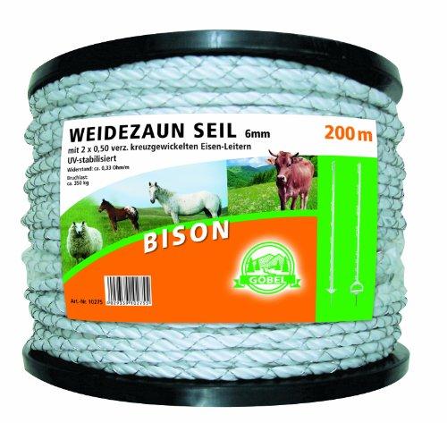 Göbel électrique Corde Bison 200 m 6 mm 2 x 0,50 Croix gewickelte Niro échelle 2,10 Ohm/M