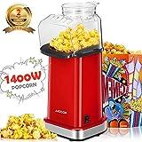 Aicook Macchina pop corn, 1400W Macchina per Popcorn Senza Olio e Grassi, Pentola Antiaderente, Bocca...