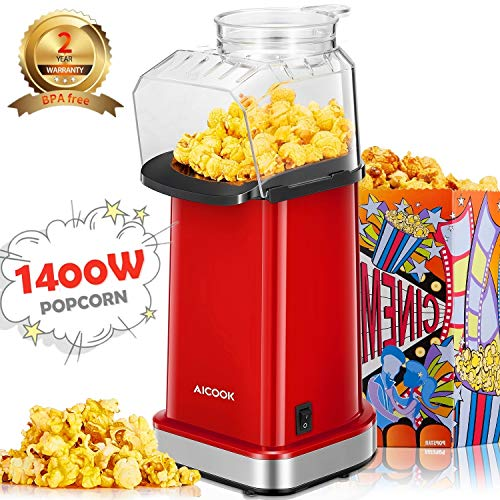Aicook Machine à Pop Corn, 1400W Retro Popcorn Maker...