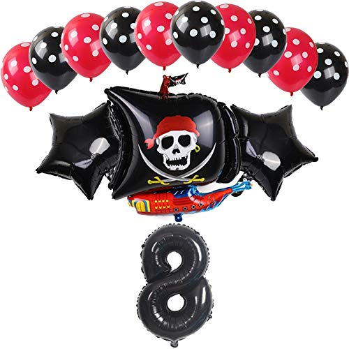 YSJSPOL Balloon 14Pcs/set Halloween Polka Skull Print pirate ship pattern Balloons Dot Latex Helium Number Balloon Birthday Theme Party globos Party (Color : Black 8)