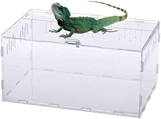 Tfwadmx Reptile Carrier Box, Acrylic Reptile Travel Critter Terrarium Breeding Feeding for Lizard Hermit Crabs Geckos Frogs Spider and Smaller Reptiles