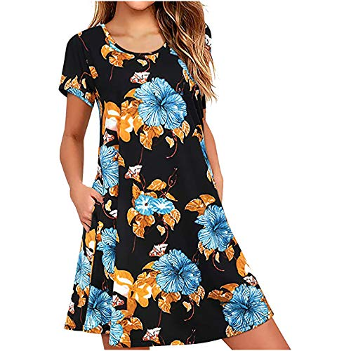 liulangzhe No1 Beige/Schwarz/Blau/GrüN/Rosa/Gelb Frauen Bedruckte Taille-großärmlige Kurzarm Kleid Rundhalsausschnitt Kurzkleid